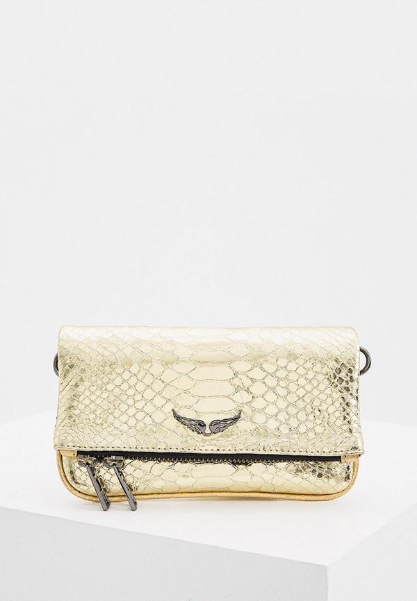 женская сумка через плечо zadig & voltaire, золотая
