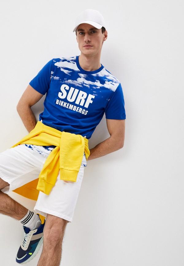 мужская футболка bikkembergs, синяя