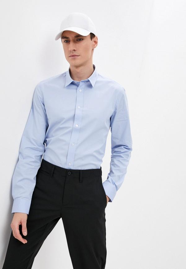 мужская рубашка с длинным рукавом bikkembergs, голубая