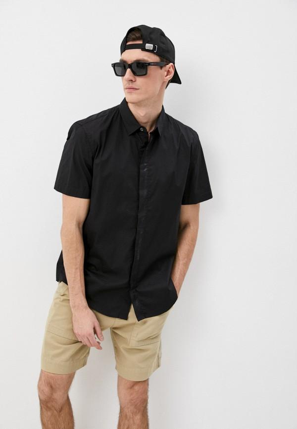 мужская рубашка с коротким рукавом bikkembergs, черная