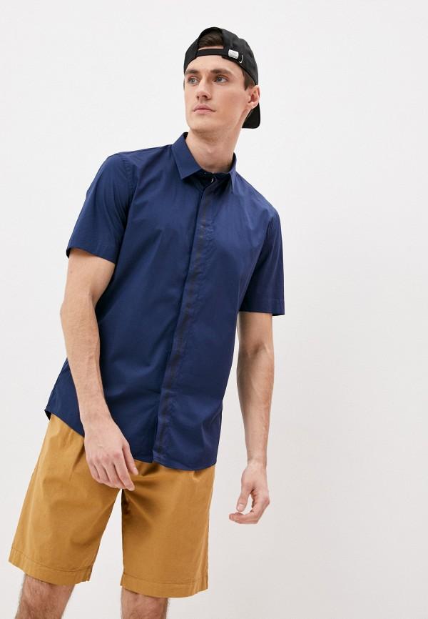 мужская рубашка с коротким рукавом bikkembergs, синяя
