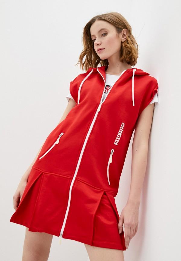 женское платье-толстовки bikkembergs, красное