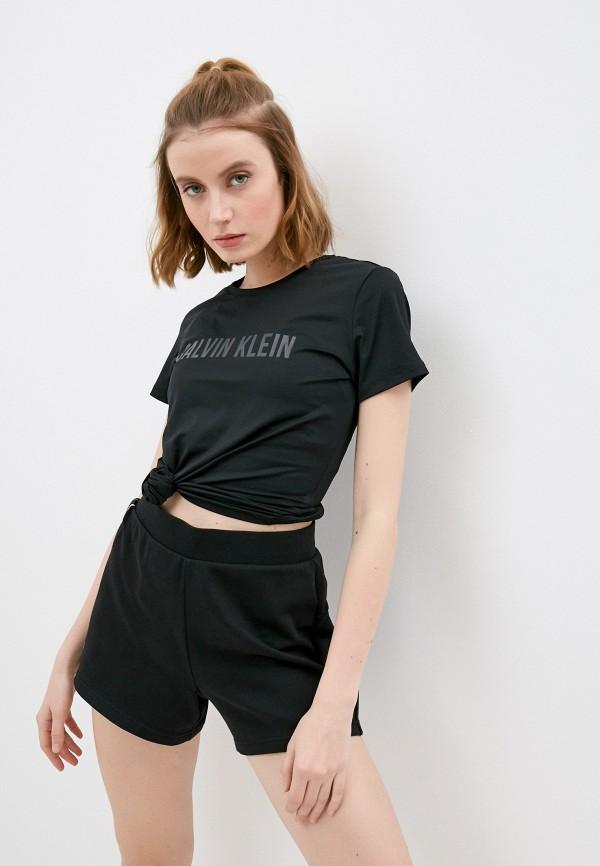 женская спортивные футболка calvin klein, черная