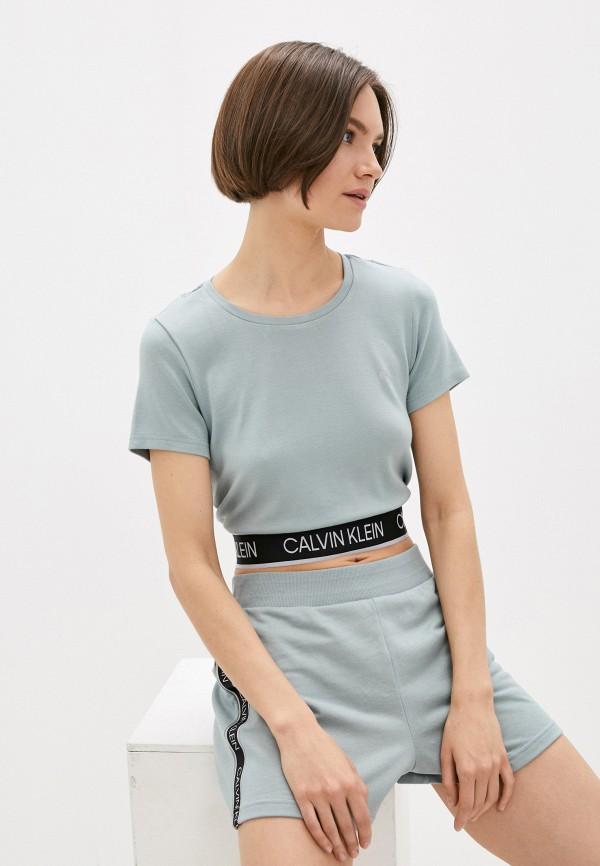 женская спортивные футболка calvin klein, бирюзовая