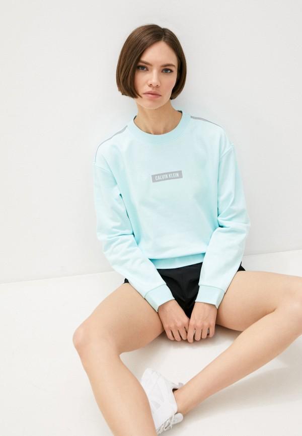 женский спортивные свитшот calvin klein, бирюзовый