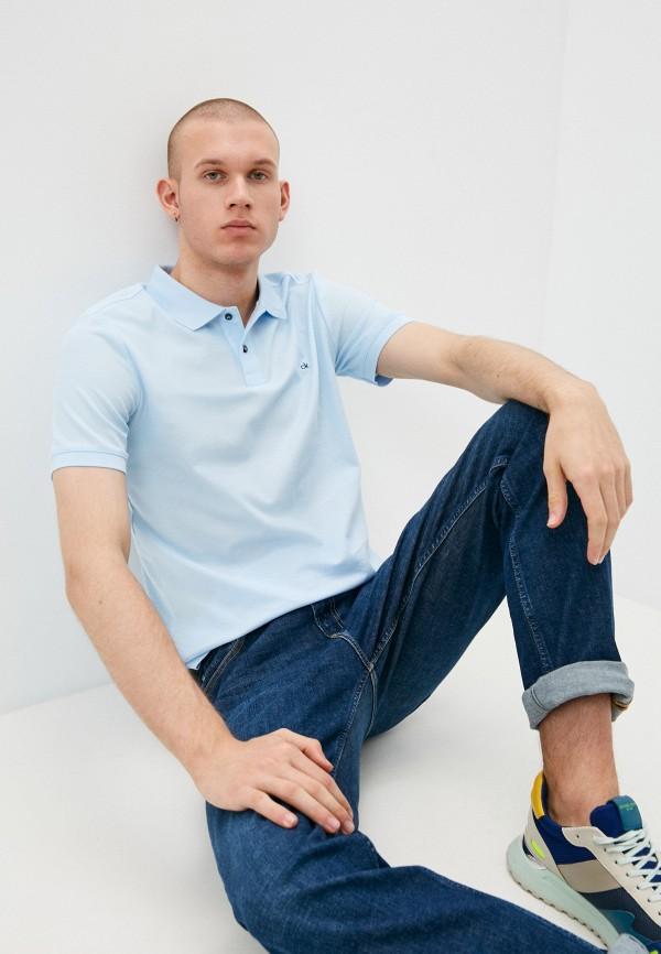 мужское поло с коротким рукавом calvin klein, голубое