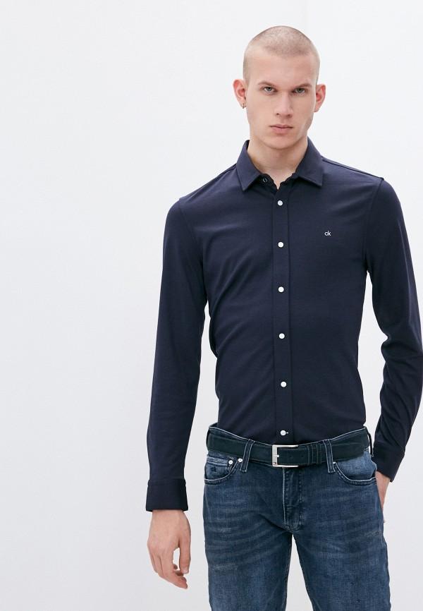 мужская рубашка с длинным рукавом calvin klein, синяя