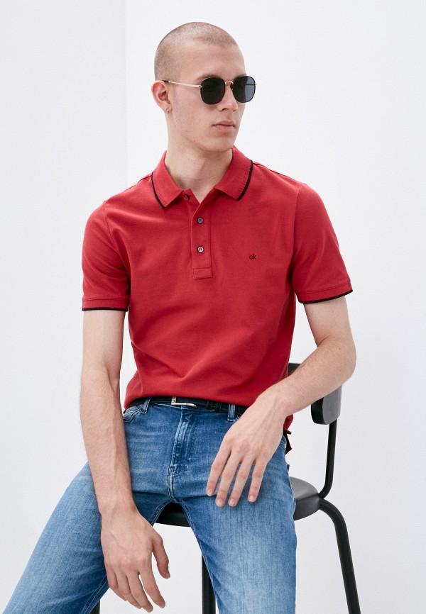 мужское поло с коротким рукавом calvin klein, красное
