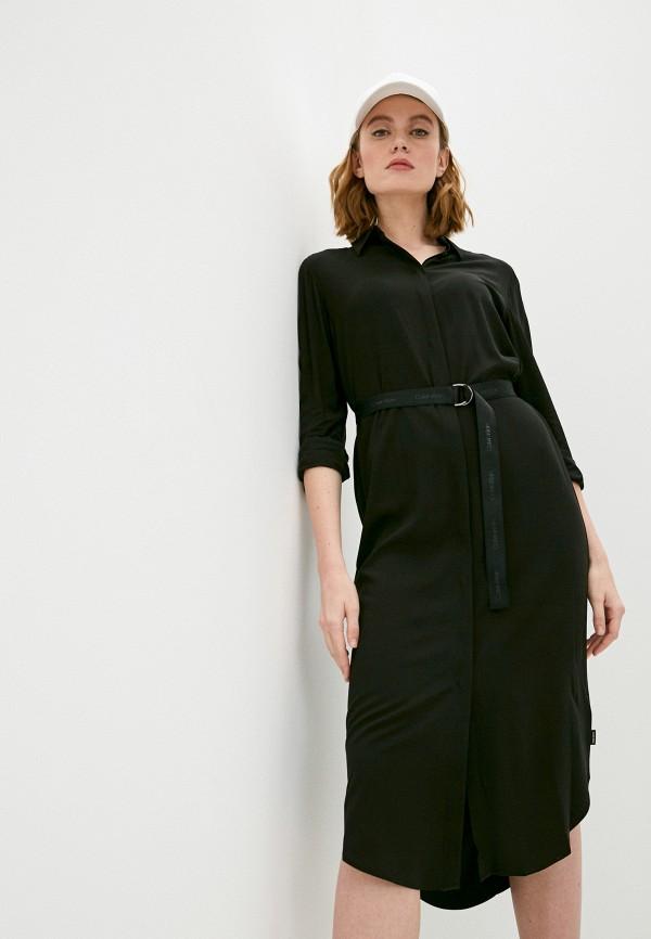 женское платье-рубашки calvin klein, черное