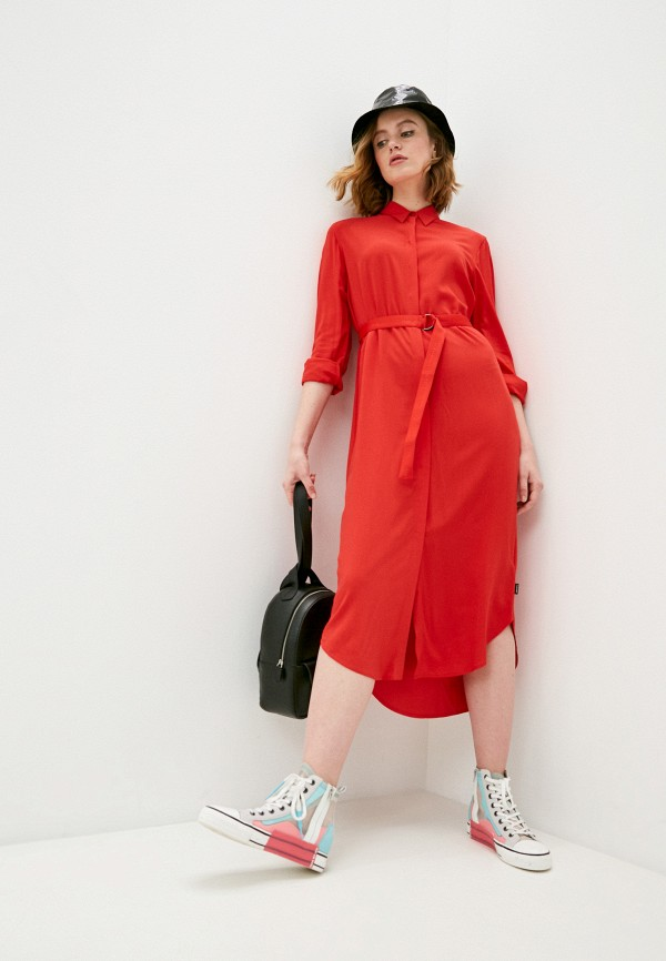 женское платье-рубашки calvin klein, красное