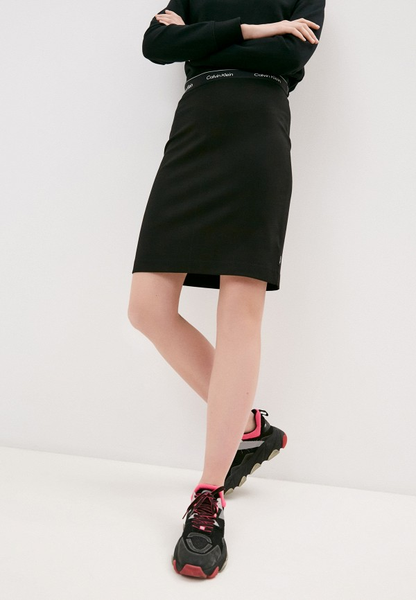 женская прямые юбка calvin klein, черная