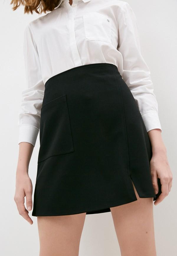 женская юбка-трапеции calvin klein, черная