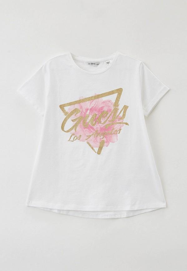 футболка с коротким рукавом guess для девочки, белая