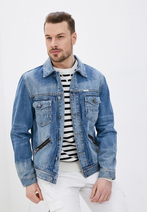 мужская джинсовые куртка guess, голубая