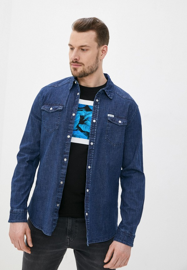мужская джинсовые рубашка guess, синяя