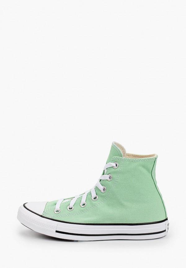 женские низкие кеды converse, зеленые