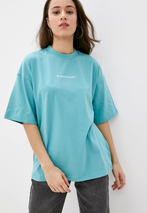 женская футболка missguided, бирюзовая