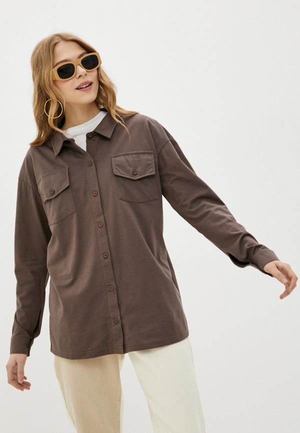 женская рубашка с длинным рукавом missguided, коричневая