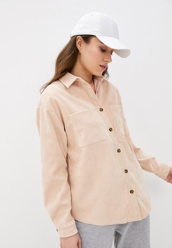 женская рубашка с длинным рукавом missguided, бежевая