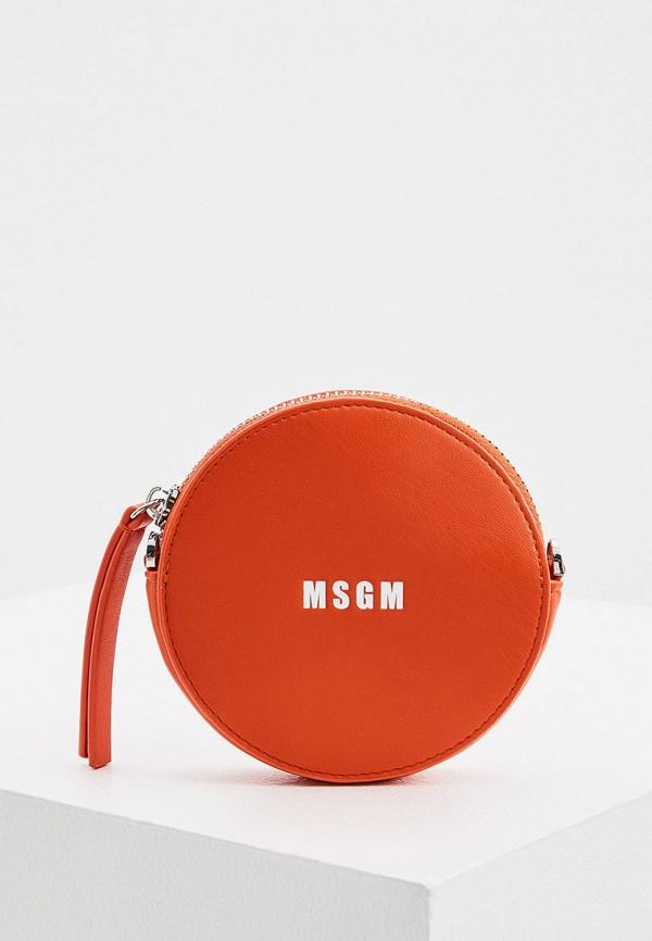 женская сумка через плечо msgm, оранжевая