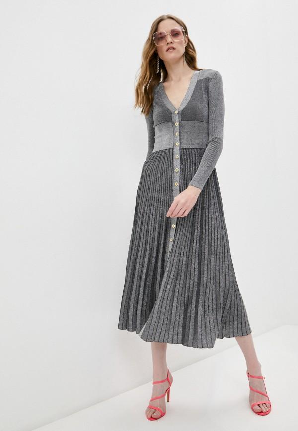 женское повседневные платье pinko, серебряное