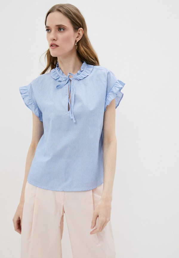 женская блузка pinko, голубая