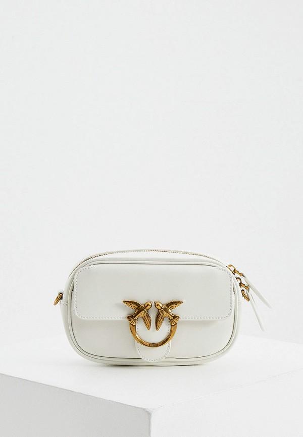 женская сумка через плечо pinko, белая