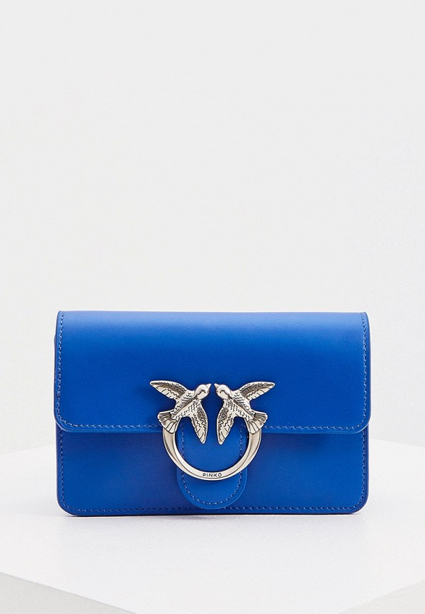 женская сумка через плечо pinko, синяя