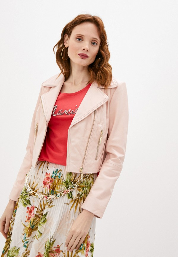женская куртка косухи guess by marciano, розовая