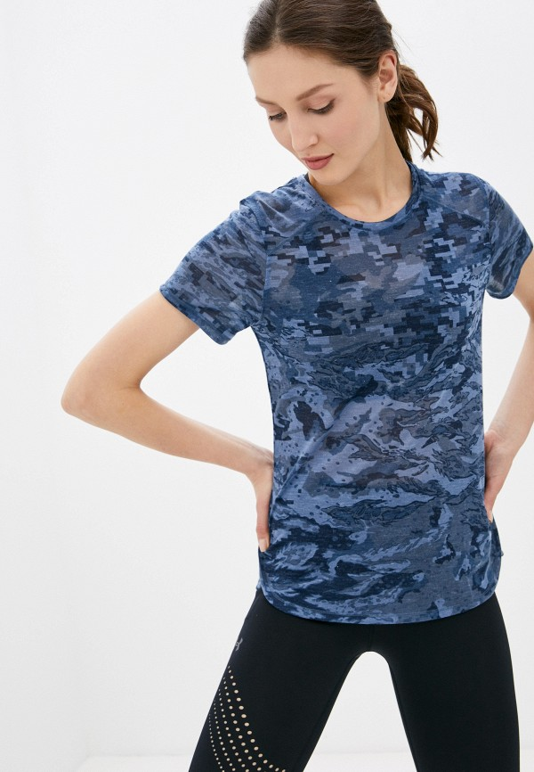 женская спортивные футболка under armour, синяя