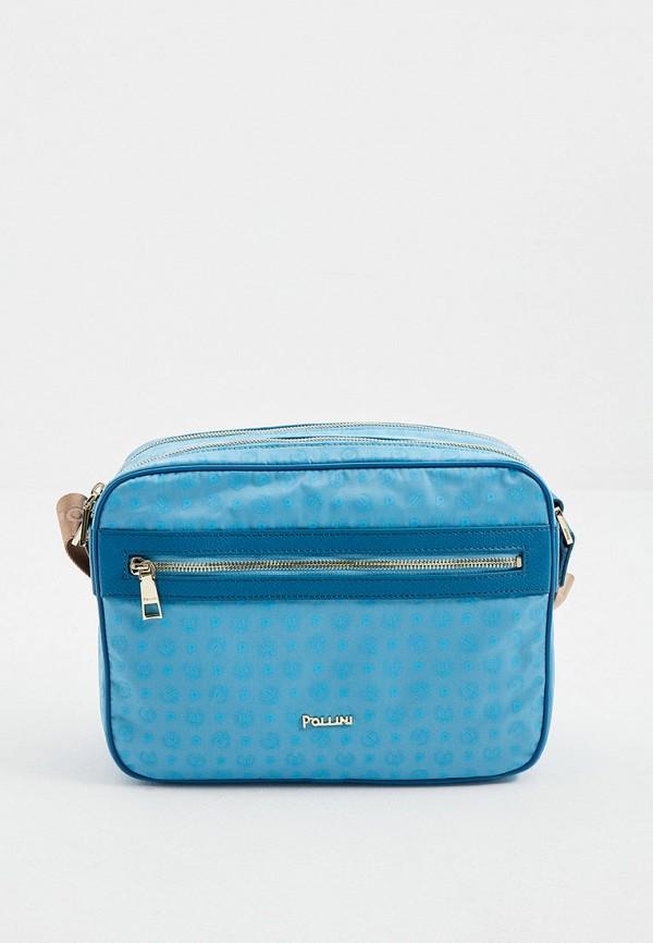 женская сумка через плечо pollini, голубая