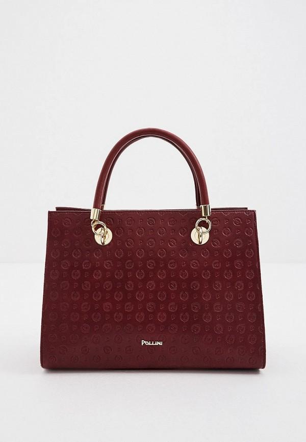 женская сумка с ручками pollini, бордовая