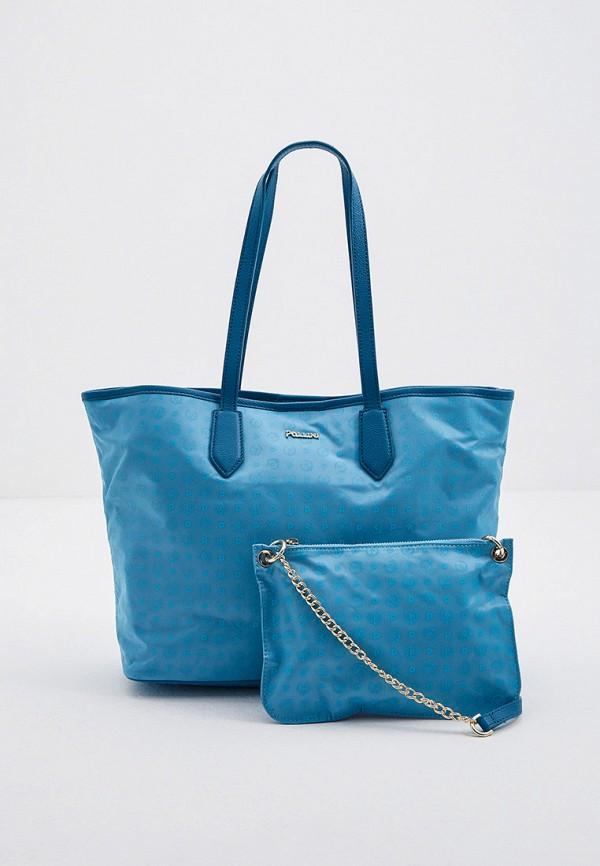 женская сумка-шоперы pollini, голубая