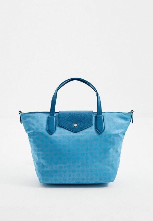 женская сумка с ручками pollini, голубая
