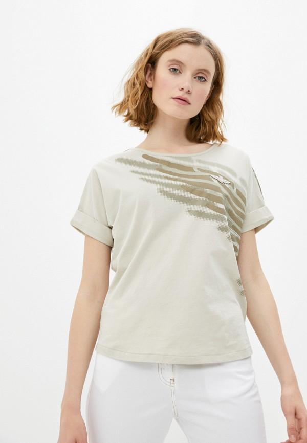 женская футболка aeronautica militare, бежевая