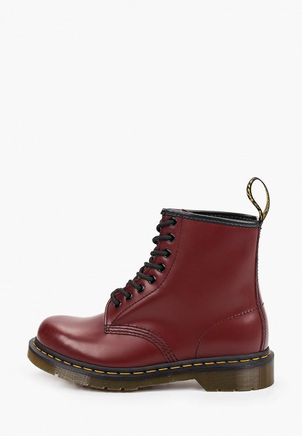 женские высокие ботинки dr. martens, бордовые