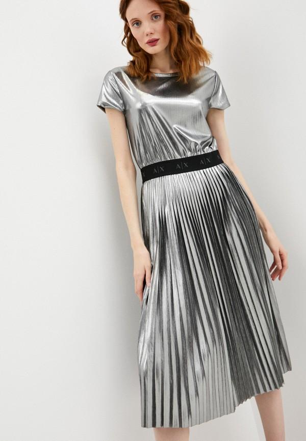 женское повседневные платье armani exchange, серебряное