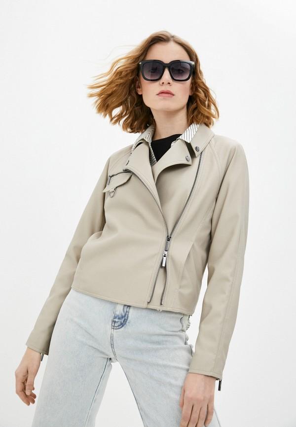 женская куртка косухи armani exchange, бежевая