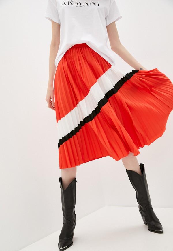 женская плиссированные юбка armani exchange, красная