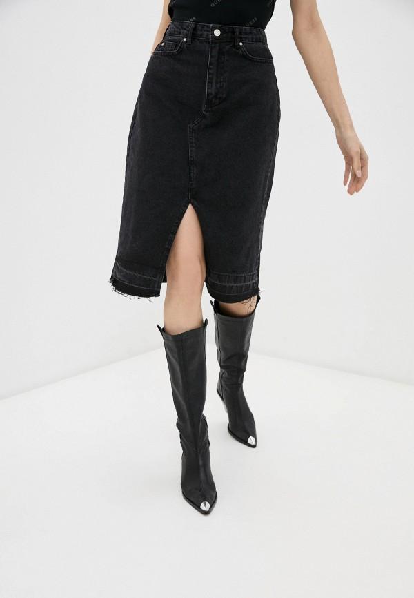 женская джинсовые юбка trendyol, черная