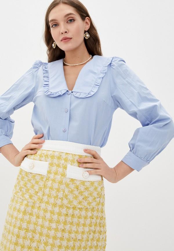 женская рубашка с длинным рукавом trendyol, голубая