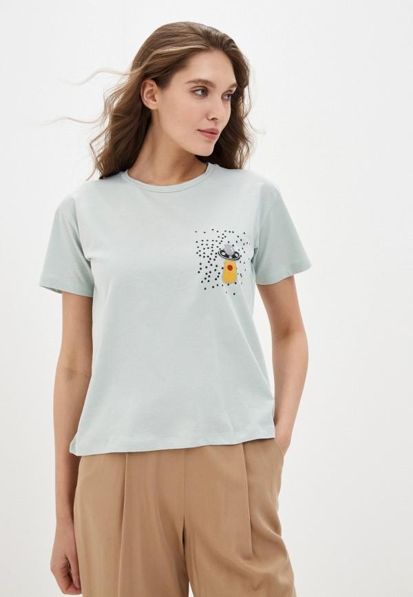 женская футболка trendyol, бирюзовая