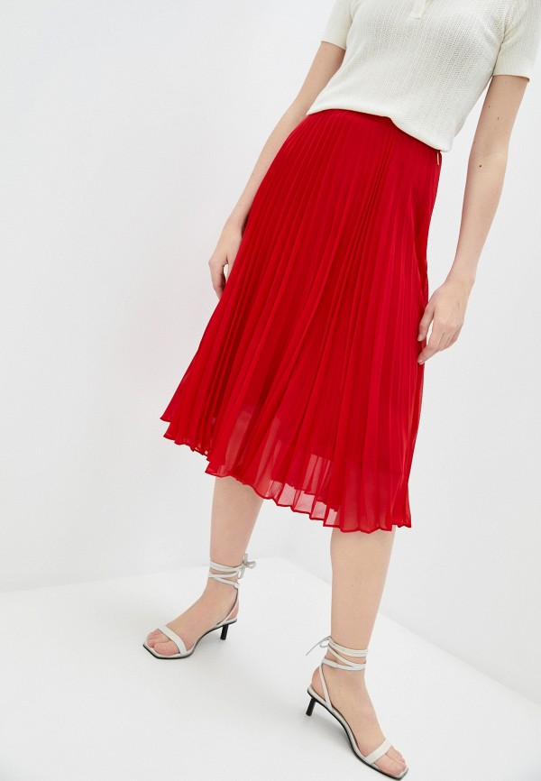 женская плиссированные юбка lauren ralph lauren, красная