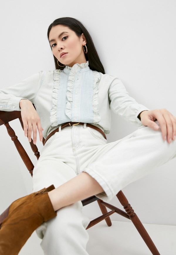 женская джинсовые рубашка polo ralph lauren, голубая