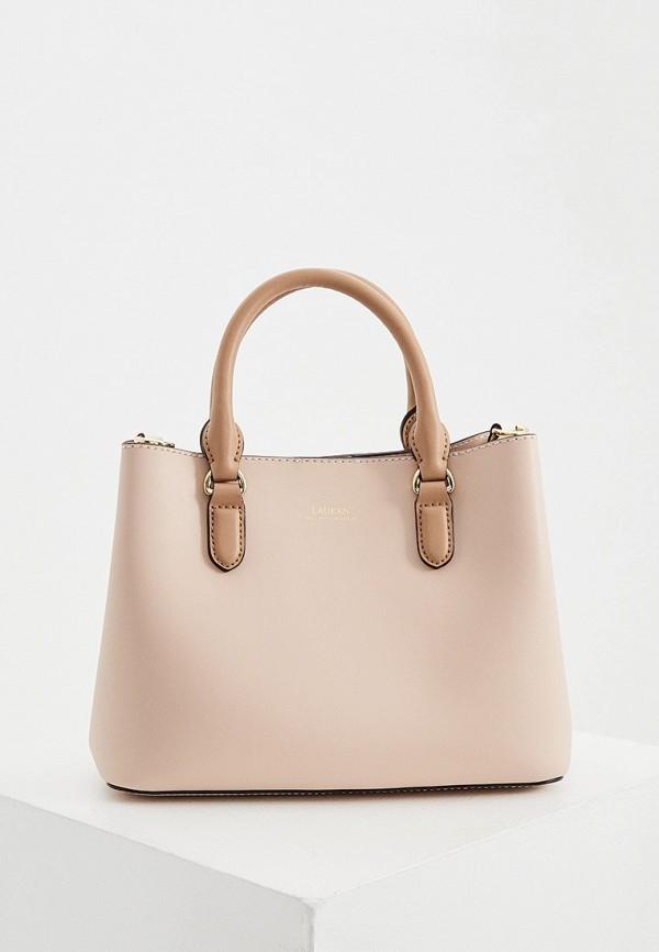 женская сумка с ручками lauren ralph lauren, бежевая