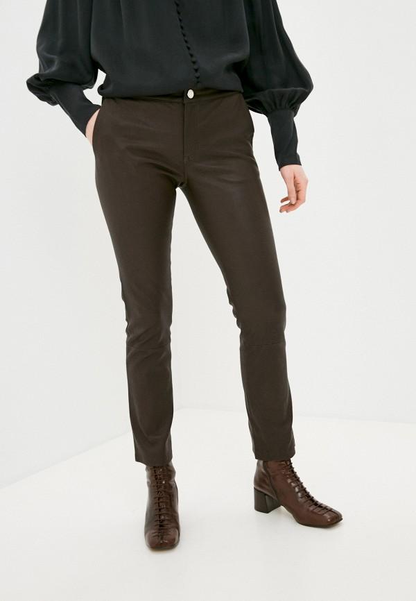 женские кожаные брюки 2nd day, коричневые