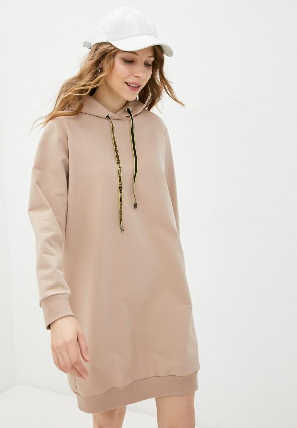 женское платье pink frost, бежевое