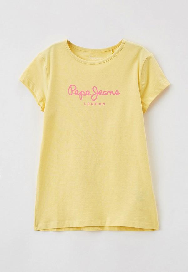 футболка с коротким рукавом pepe jeans london для девочки, желтая