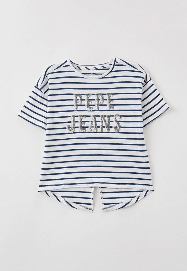 футболка с коротким рукавом pepe jeans london для девочки, синяя