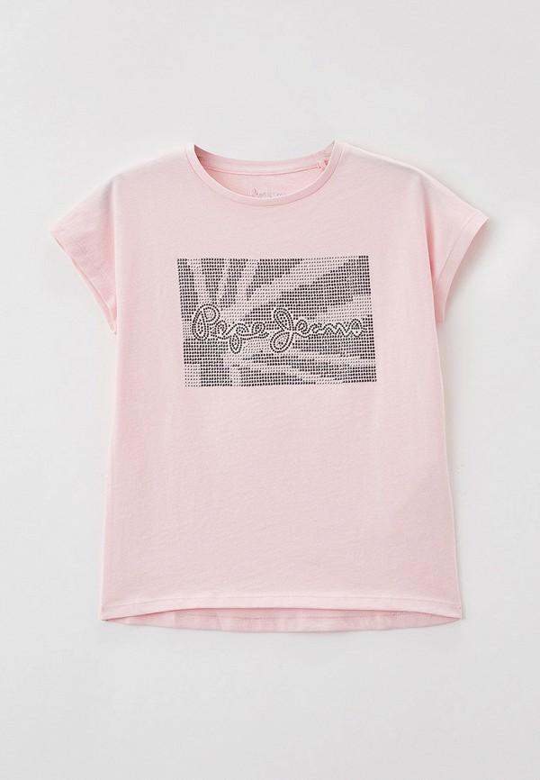 футболка с коротким рукавом pepe jeans london для девочки, розовая